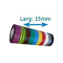 Ruban isolant adhésif couleurs larg 15 mm long 10 m. 10 rouleaux