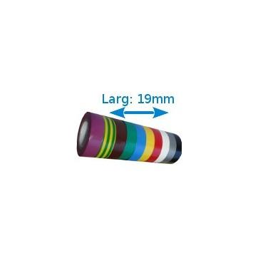 Ruban isolant adhésif couleurs larg 19 mm long 20 m 10 rouleaux